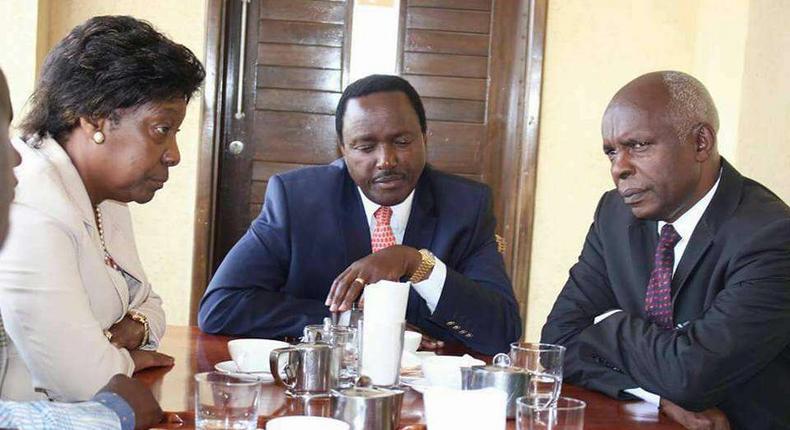 Wiper leader Kalonzo Musyoka (centre) with Charity Ngilu (left) and Kivutha Kibwana