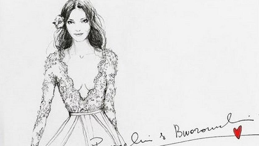 Projekt sukni ślubnej dla Mariny Łuczenko