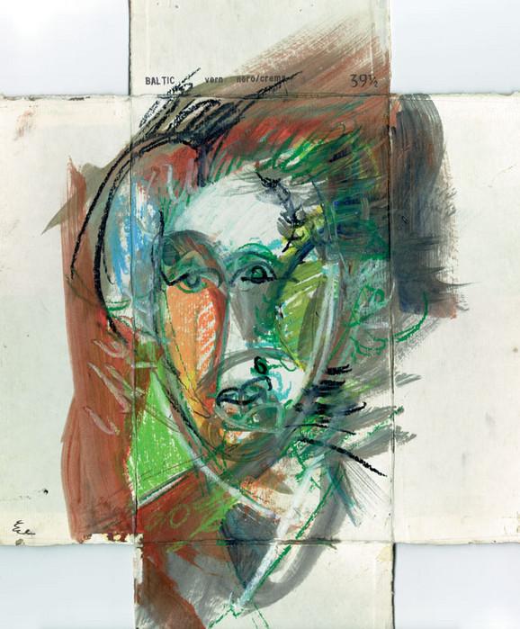 Portret 2, kombinovana tehnika na poklopcu kutije za cipele, 1992.