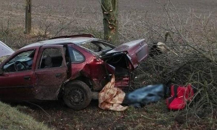 Pijany kierowca roztrzaskał się o drzewo. Zginął pasażer auta