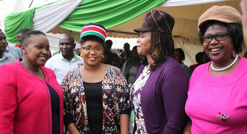 Female MPs Martha Wangari (far left), Jessica Mbalu, Anne Wanjiru Kibe and Jayne Kihara