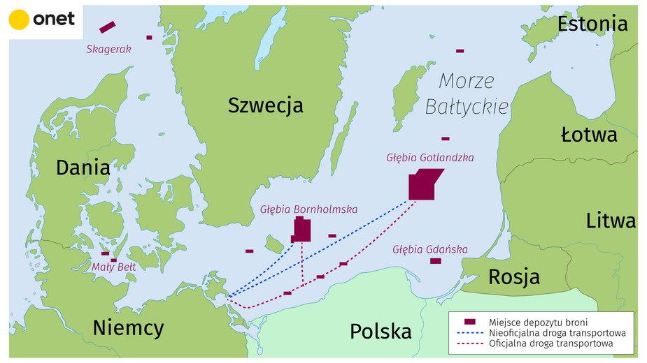 Mapa zrzutów broni chemicznej w Morzu Bałtyckim