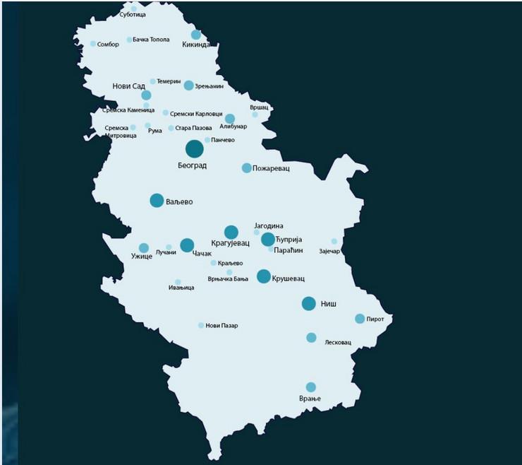 mapa, korona virus, srbija
