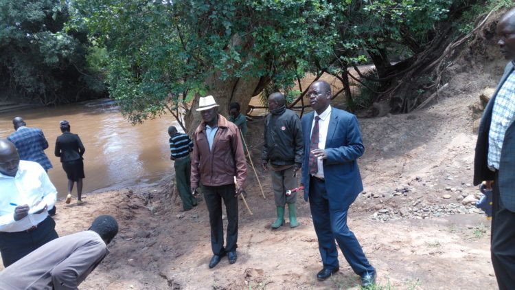 West Pokot Governor John Lonyangapuo at river Suam. (westfm)