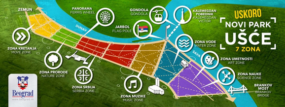 Mapa budućeg parka na Ušću