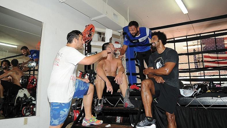 David Haye with Paulie Malignaggi, Joe Fournier and coach Dino Spencer at the 5th Street gym in Miami