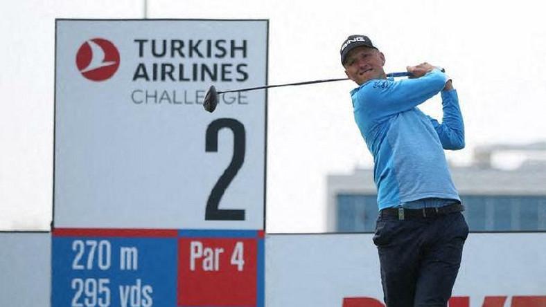 Adrian Meronk podczas turnieju Turkish Airlines Challenge Golf Tournament w kwietniu 2019 roku