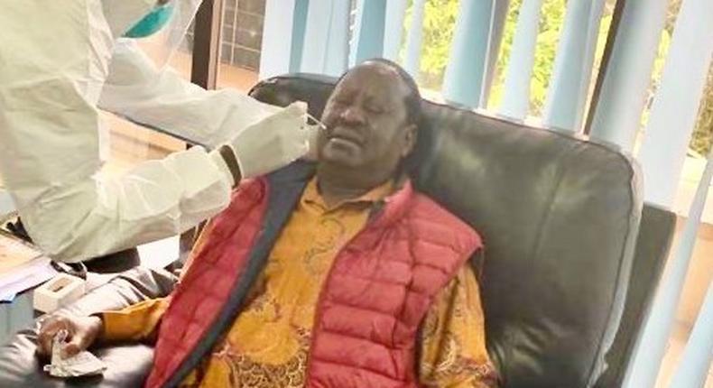 Special AU envoy Raila Odinga when he took a Covid-19 test at the Mbagathi Hospital