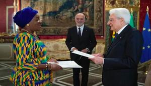 Ambassador Quartey Koranteng presents her letters of credence to President Sergio Mattarella in Rome