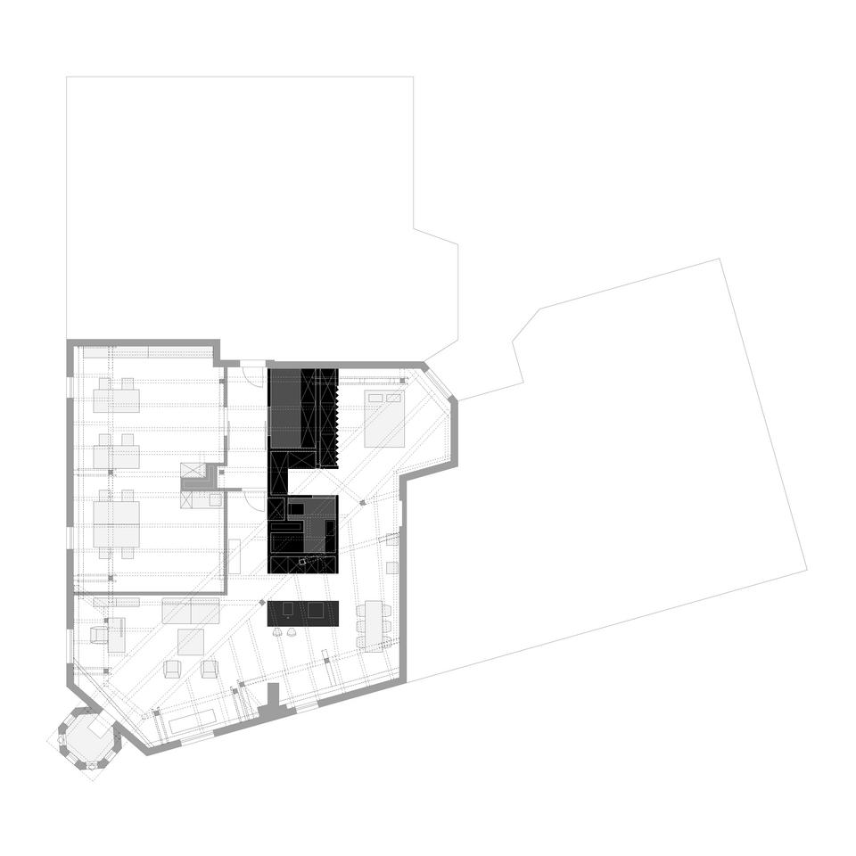 Plan mieszkania wraz z przylegającą do niego przestrzenią biurową.