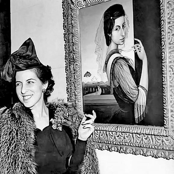 Milena Pavlović Barili ispred Autoportreta s velom, Njujork 1943,