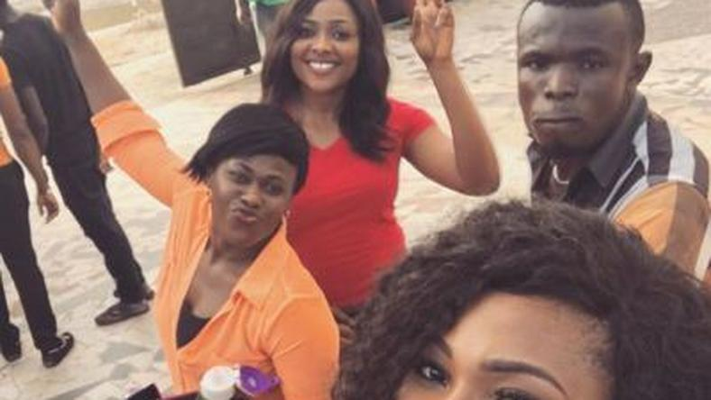 "Lilian Esoro, Uche Jombo, Mary Lazarus on set of ""Lost in Us"""