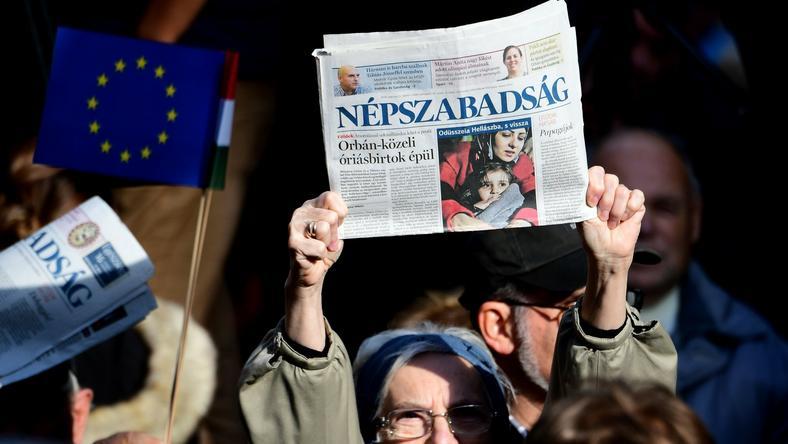 Demonstracja w obronie wolnych mediów na Węgrzech, październik 2016