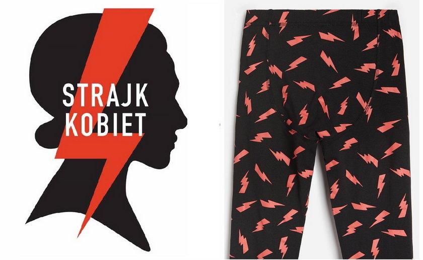 Po lewej błyskawica Strajku Kobiet, po prawej - spodenki dostępne na stronie Reserved.