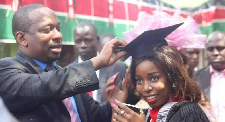 Mike Sonko and Saumu during her graduation