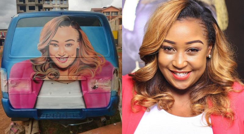 Betty Kyallo offer fans free lunch over this Huge Graffiti of her face on Nairobi Matatu (Photos)
