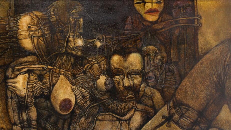 """Wystawa i aukcja """"Surrealizm i Realizm Magiczny"""". Na zdjęciu: Zdzisław Beksiński, """"Bez tytułu"""" (1967)"""