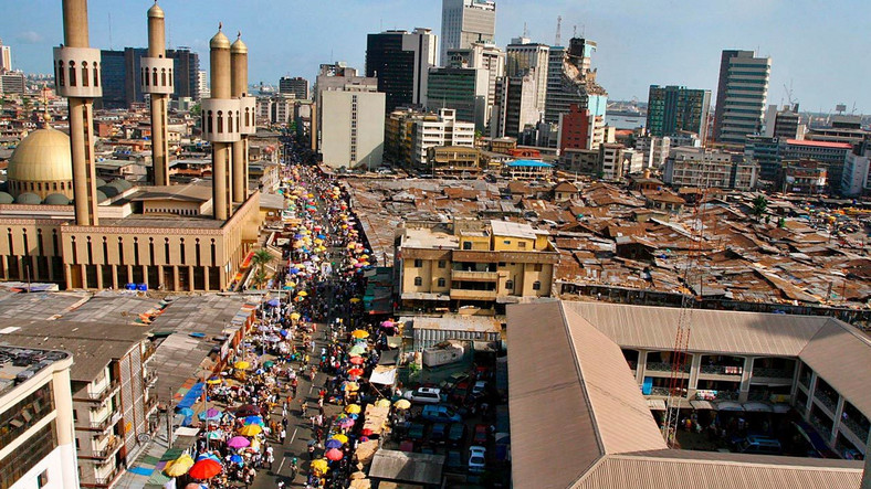 Lagos' central business district epitomizes the city's out-sized population (Punch)