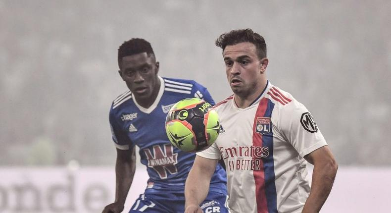 Swiss winger Xherdan Shaqiri (R) made his first appearance for Lyon since joining from Liverpool Creator: JEFF PACHOUD