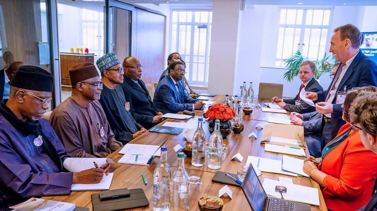 President Buhari joined by Minister of Education Mallam Adamu Adamu, Exec. Sec. NUC Prof. Abubakar Rasheed and High Commissioner of Nigeria to UK Justice Adesola Oguntade and others as he meets with Management of Pearson Educational Group in London on 13th Nov 2019 (Twitter/@FMICNigeria)