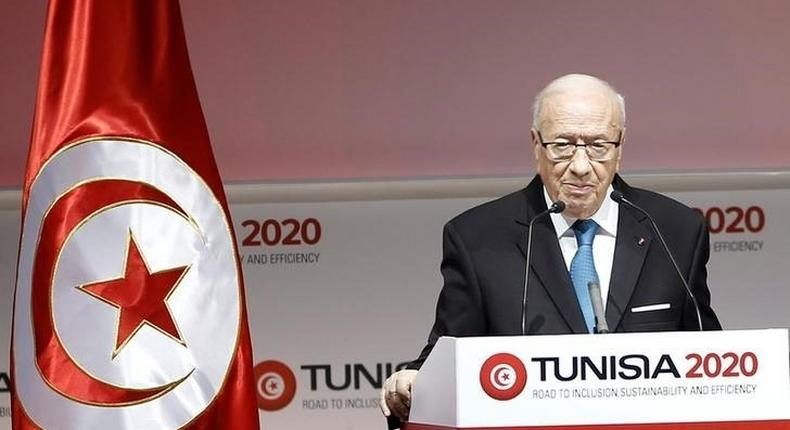 Tunisia's President Beji Caid Essebsi speaks during the opening of international investment conference Tunisia 2020, in Tunis, Tunisia November 29, 2016. REUTERS/Zoubeir Souissi