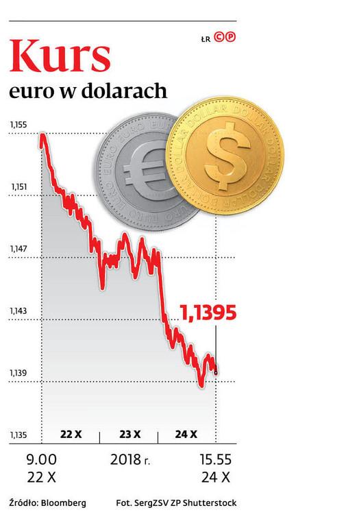 Kurs euro w dolarach