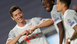 Robert Lewandowski celebrates scoring Bayern Munich's sixth goal in the 8-2 thrashing of Barcelona in Lisbon last August Creator: Manu Fernandez