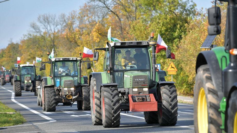 Protest rolników w miejscowości Trzebucza, 7 października 2020 r.
