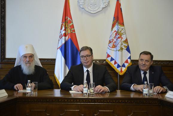 Patrijarh Irinej, Aleksandar Vučić i Milorad Dodik