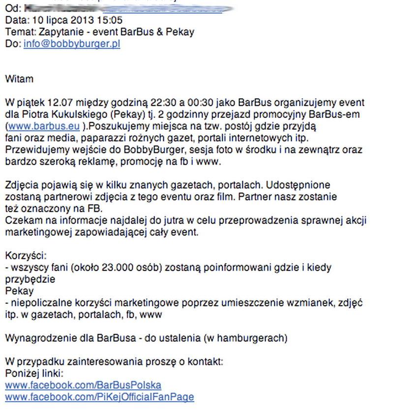 mail menadżera Kukulskiego do restauracji