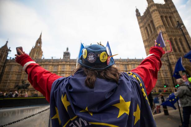 Kobieta protestuje przeciw brexitowi w Londynie