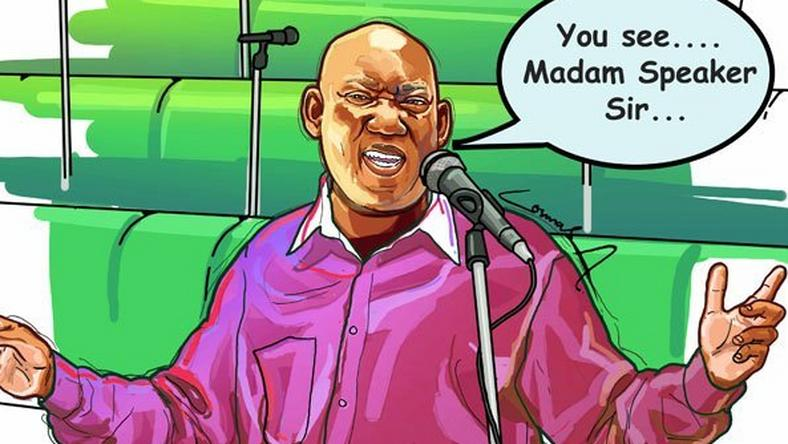 A graphic illustration by a cartoonist depicting MP Kato Lubwama, speaking incorrect English. (courtesy)