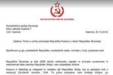 Slovenija, Socijalisti, Kosovo, Pismo