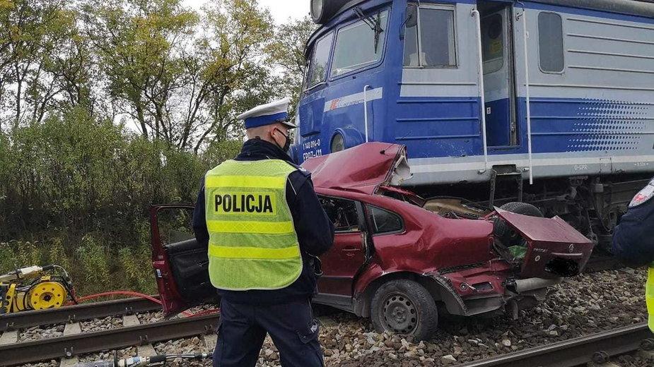 Zdjęcie z miejsca wypadku w miejscowości Prażki