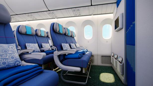Dreamliner LOT-u. Widok na klasę ekonomiczną.