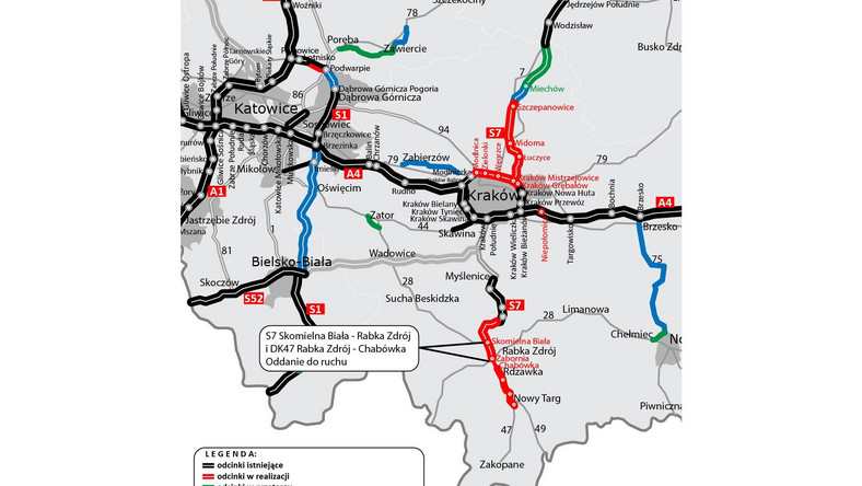 Ponad 6-kilometrowy odcinek drogi ekspresowej S7, czyli popularnej Zakopianki od Skomielnej Białej do Rabki Zdroju