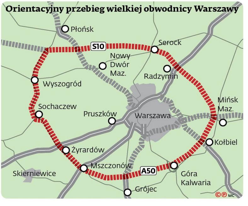 Orientacyjny przebieg wielkiej obwodnicy Warszawy