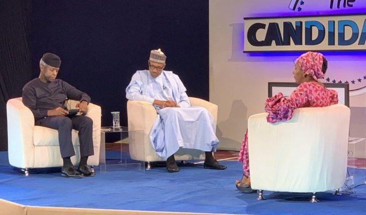 "President Muhammadu Buhari seemed to have needed help from his deputy Professor Yemi Osinbajo during an interaction with Kadaria Ahmed, the moderator of a townhall programme ""The Candidates""."