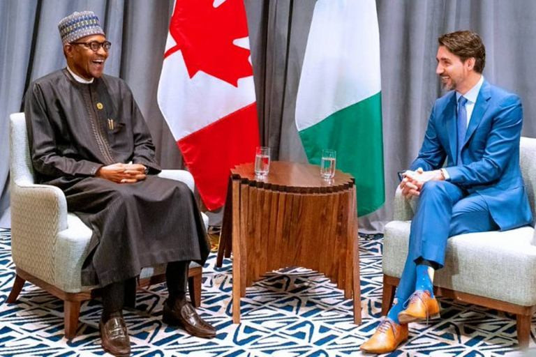 Nigerian Muhammadu Buhari and Canadian Prime Minister Justin Trudeau during a bilateral meeting in Addis Ababa