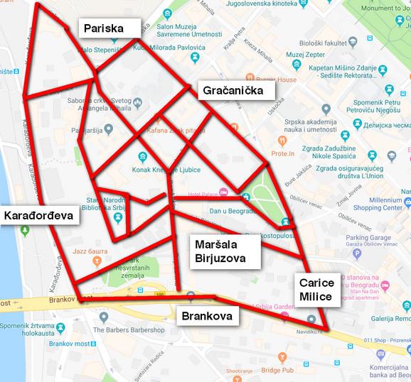 Nova parking zona na mapi