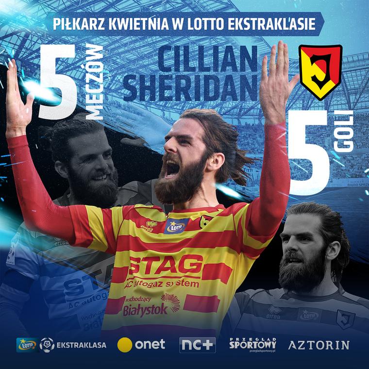 Cillian Sheridan piłkarzem kwietnia w LOTTO Ekstraklasie