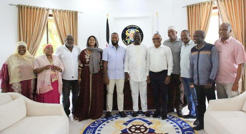 Governor Joho surprises Raila with birthday cake in his Mombasa office