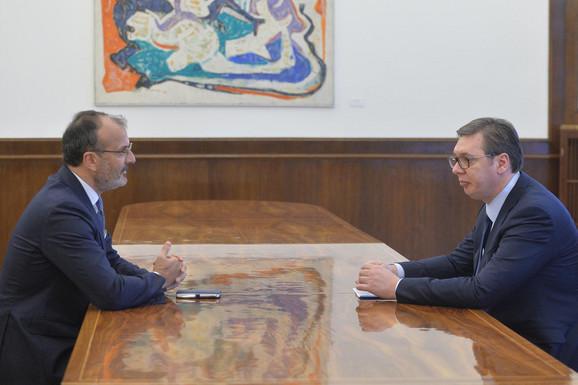 Aleksandar Vučić i šef Delegacije EU u Srbiji Sem Fabrici