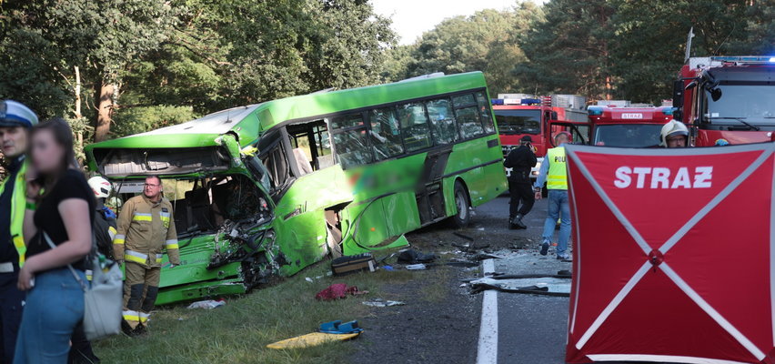 Straszny wypadek pod Zieloną Górą. Autobus PKS zderzył się z busem. Jest kilkadziesiąt osób rannych i ofiara śmiertelna