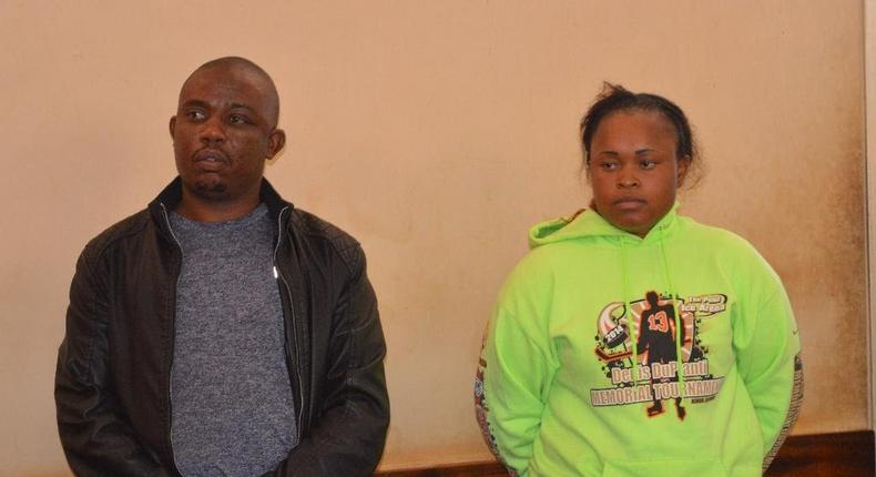 Joseph Kori (L) with Judy Wangui who are accused of killing Kori's wife Mary Wambui (Twitter)