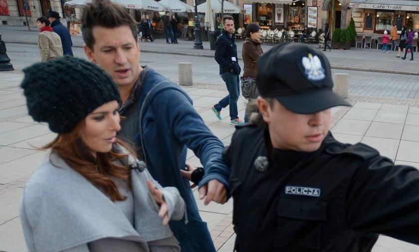 Paulina Sykut i Maciej Rock oraz policja