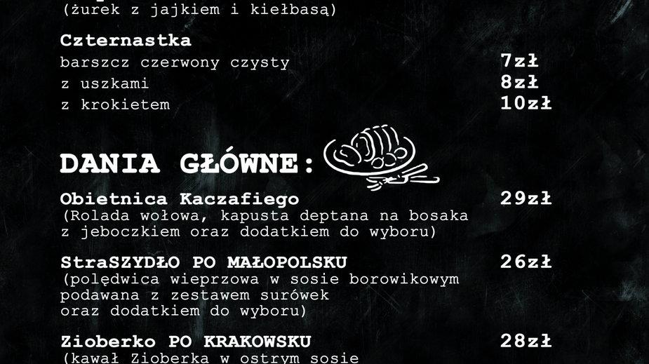 """Menu restauracji """"Polski Nie-Rząd"""", fot. """"Polski Nie-Rząd""""/Zrzutka.pl"""