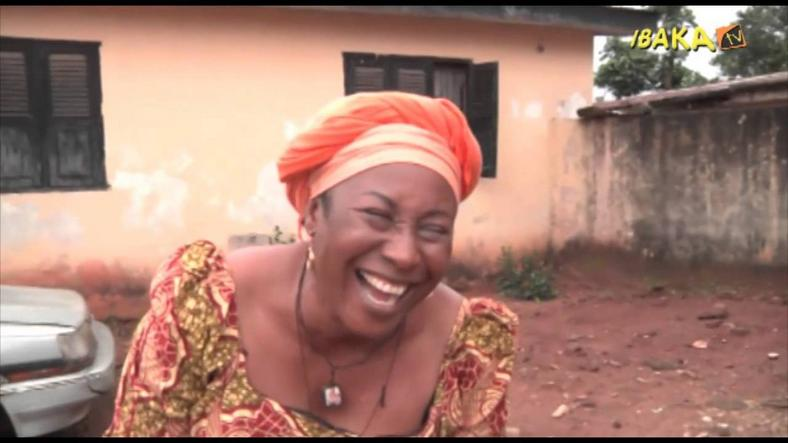Patience Ozokwor on the set of a Nollywood movie.