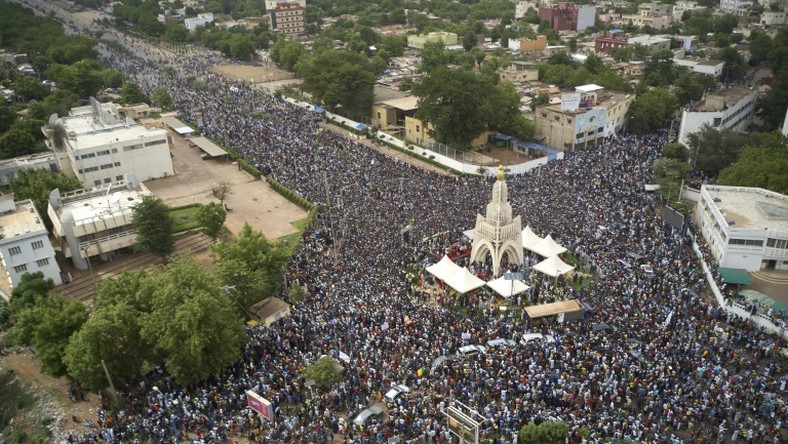 Tens of thousands converged on Independence square in Bamako