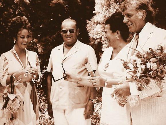 Elizabet Tejlor u društvu Tita i Jovanke Broz i supruga Ričarda Bartona